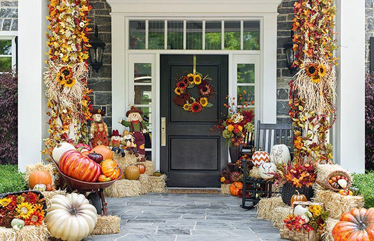 Jesenné dekorácie vchodových dverí